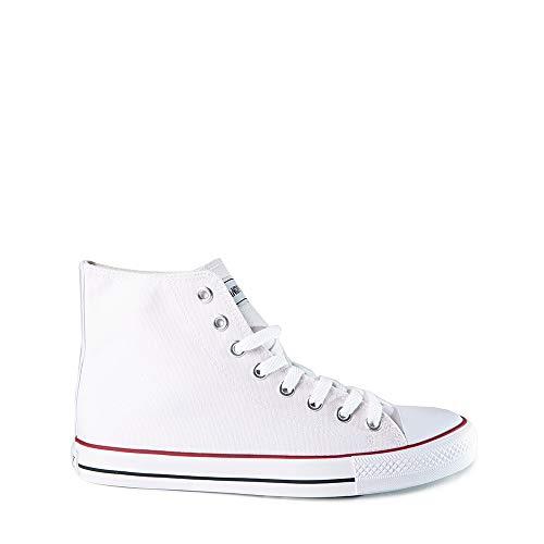 Zapatillas Lona Bota Hombre Blanco
