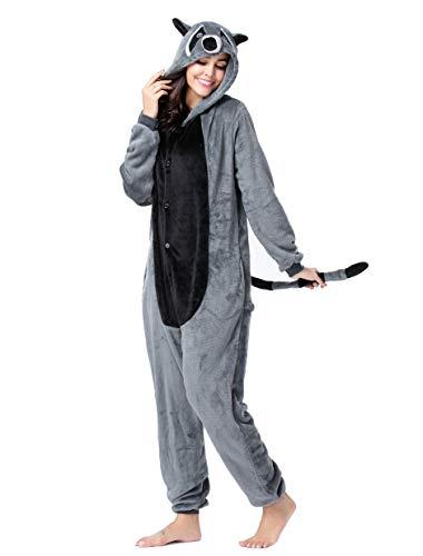 BESUURAN Disfraz de mapache de relajación, mono, animal, relax, pijama, Navidad, Halloween, cosplay, adultos, carnaval, Raccoon2, talla S