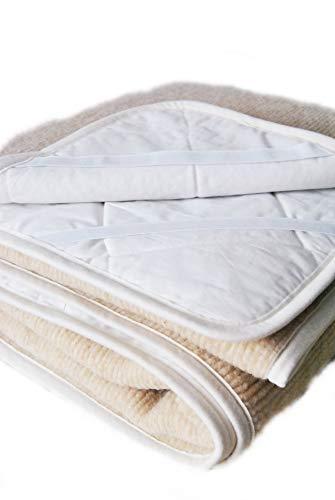 Merino Wool PEROTTON Bedding, natuurlijke beddengoed wol matras topper fleece sheet natuurlijke product, wol onderdeken hoekbanden WOOLMARKED 180 x 200 cm Beige