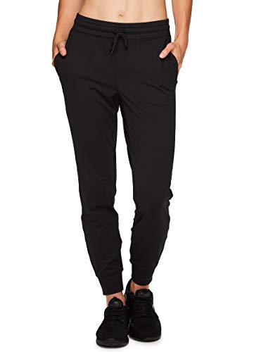 RBX Active Women's Adjustable Waist Lightweight Athletic Super Soft Stretch Fleece Lined Tapered Jogger Sweatpants with Pockets Stretch Black M
