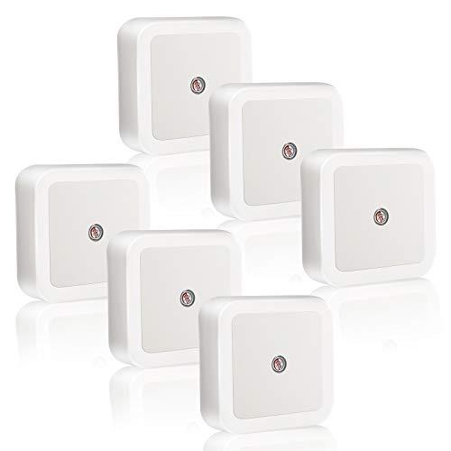 6 PCS LED Luz Nocturna,Lámpara Nocturna con Enchufe Sensor de Luz para Habitación Bebé,Niños,Dormitorio,Sala,Pasillos,Cocina