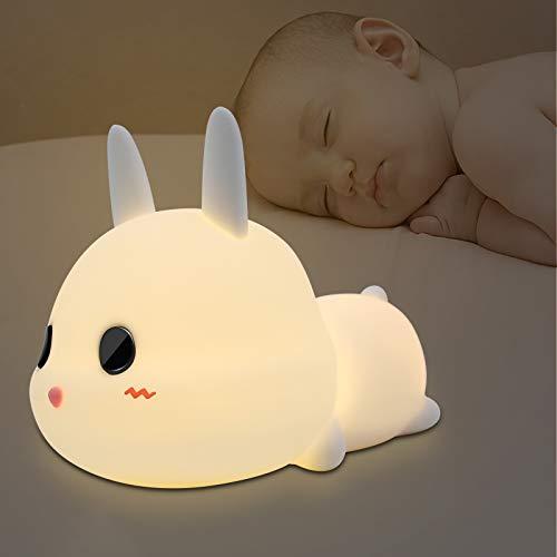 Luz Nocturna Niños,LED Lámpara de Noche Bebé de Conejo con Brillo Ajustable/Interruptor Táctil/USB Regargable/Modo de cronometraje/Regalo de Cumpleaños y Fiestas