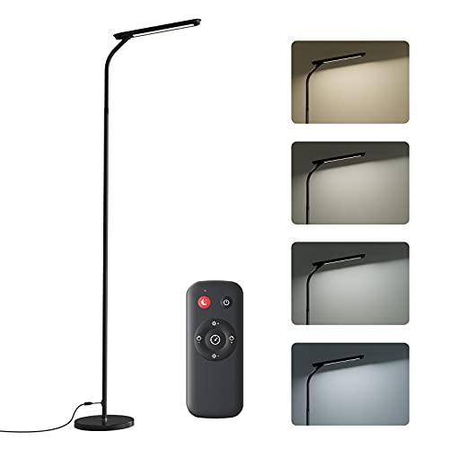 Lámpara de Pie LED Regulable con Control Remoto, 4 Temperaturas de Color, 360°Flexible,Minimalista,Bajo Consumo,Lámpara de Pie Salon, Dormitorio, Leer y Luces de Piano