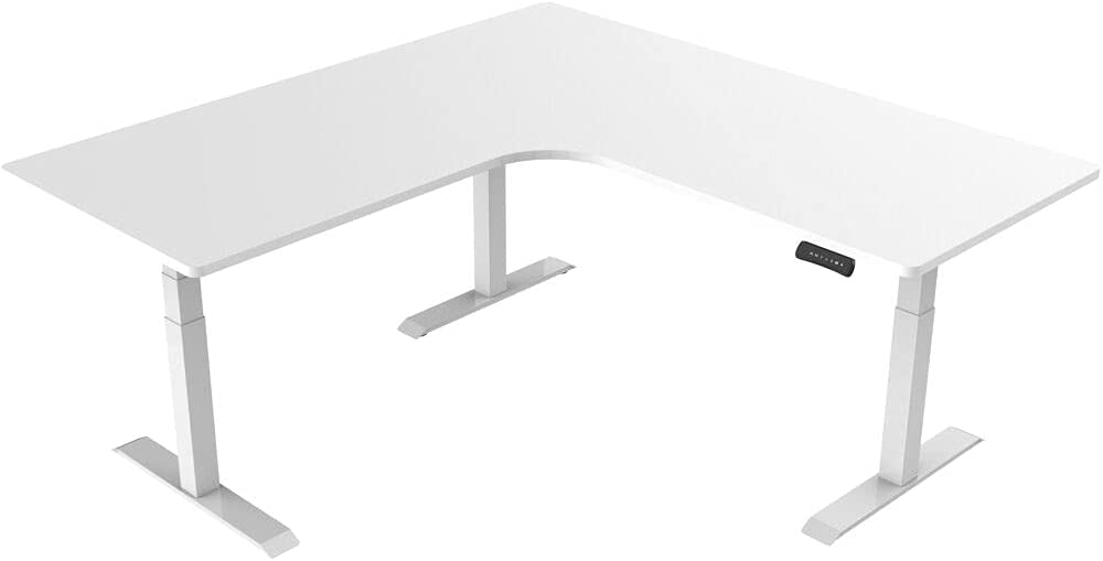 Hanover Electric Sit or Stand Desk with Adjustable Heights, White, White