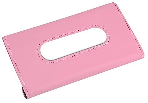 ASFINS Caja de Pañuelos Coche, Caja Porta Pañuelos Coche Caja Pañuelos Papel Dispensador Pañuelos, Hecho de Cuero de PU, para Todos Los Modelos de Coche, 23 x 13 x 3cm (Rosa)