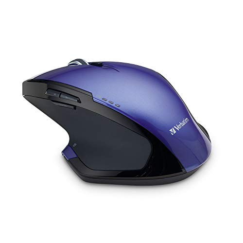 Verbatim 2.4G Wireless 8-Button LED Ergonomic Deluxe Mouse - Computer Mouse with Nano Receiver for Mac and PC - Purple