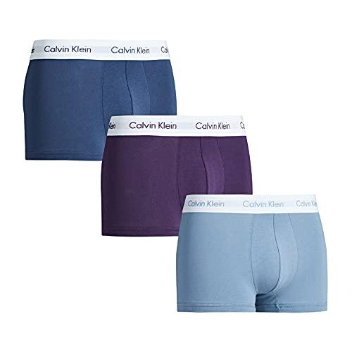 Calvin Klein 3 Pack Low Rise Trunks-Cotton Stretch Bóxers, Morado/SeaTropic/SeashoreW.WhtWb, XL (Pack de 3) para Hombre