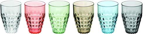 Fratelli Guzzini 22570352 vaso de agua Multicolor 6 pieza(s) 510 ml - Vasos de agua (Multicolor, Metacrilato de metilo y estireno (SMMA), 6 pieza(s), Alrededor, Tiffany, Pio&Tito Toso)