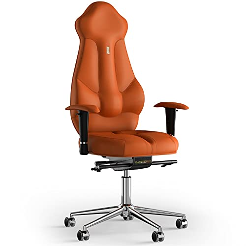 KULIK SYSTEM Imperial - Silla de escritorio para ordenador con respaldo y cojín de asiento ergonómico patentado, silla de oficina ergonómica, piel sintética, color naranja