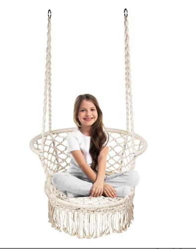 Hamaca de jardín, silla colgante con borlas, asiento de columpio, cómoda y resistente silla macramé para interiores y exteriores, patio, jardín