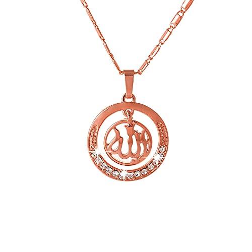 Oro / plata / oro rosa colores árabe islámico Dios Alá colgante collar mujeres musulmanas encanto joyería