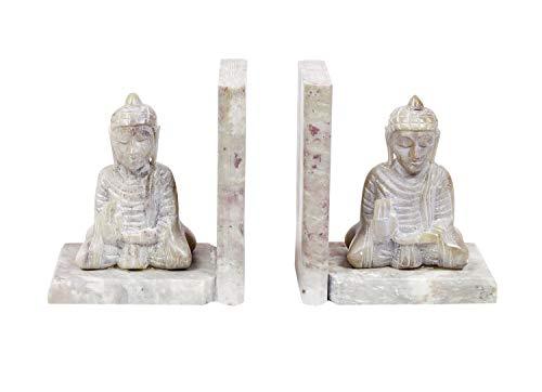 Handgefertigte Buddha-Buchstützen, handgeschnitzt, Speckstein, dekorative Buchstütze, Heimdeko, Buchstützen