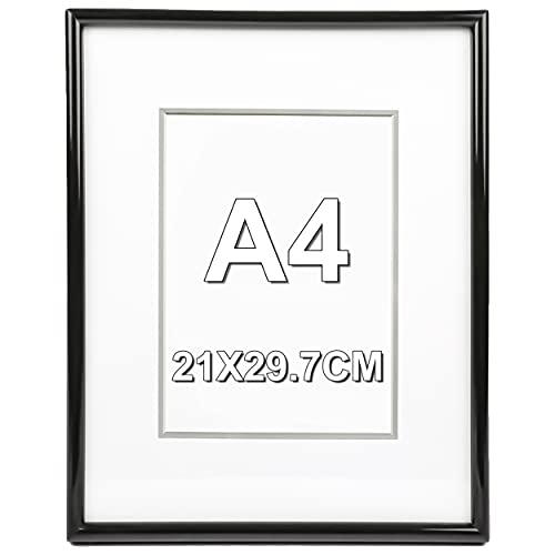 Marco de Fotos 21 x 29.7 cm A4 Negro Estilo Sencillo PVC Panel de Cristal Marco de Fotos para Decoración Especial para Títulos Universitarios