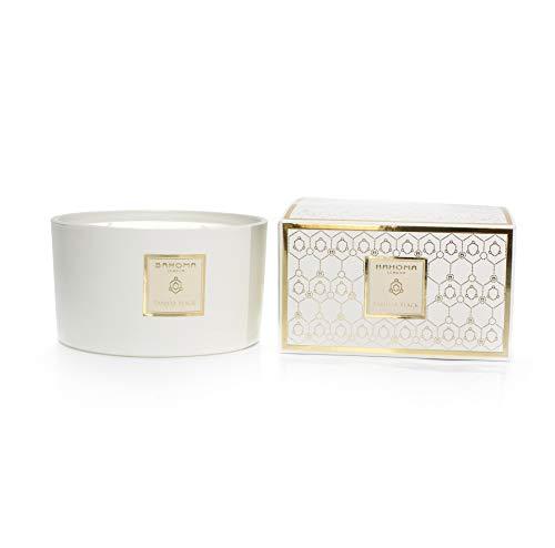 bahoma White Pearl Collection 121-WTP-3WCK-016-P Duftkerze mit 3 Dochten, Vanille-Schwarz