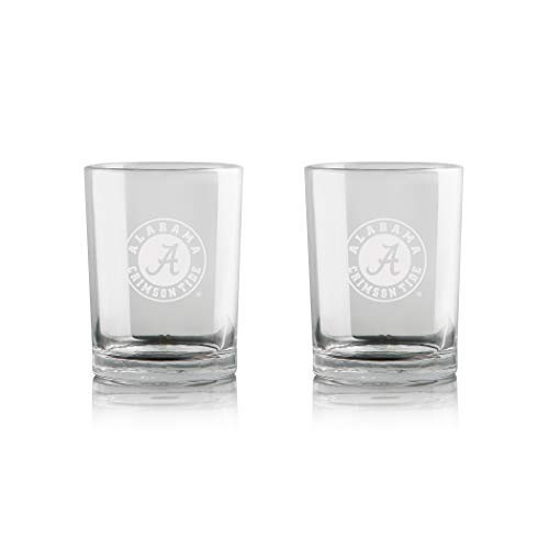 Duck House NCAA Alabama Crimson Tide Whiskey Rocks Glass | Frosted Team Logo | Lead-Free | Premium Glassware | Set of 2 | 12oz
