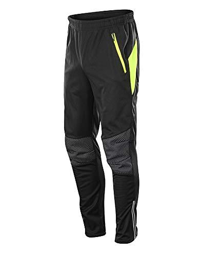 YAOTT Herren Radsporthose Sporthose Winter Thermo Fleece Gefüttert Winddichte Reißverschluss Kordelzughose MTB Radhose für Laufrad Outdoor Schwarz Grün XL