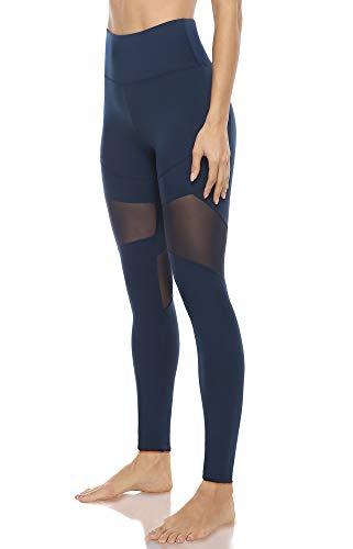 JOYSPELS Leggings Damen mit Mesh Sportleggins Damen Lang Mit Taschen Blickdichte Yoga Sporthose Damen, Blau, L