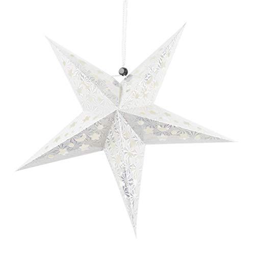 PRETYZOOM 30cm Papierstern Lampe Papier Weihnachtssterne mit Beleuchtung 3D Leuchtstern Fensterdeko Stern Weihnachten Beleuchtet Christbaumspitze für Hochzeit Party Weihnachtsbaum Deko