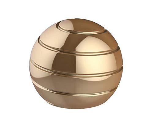 CaLeQi Desktop Ball Transfer Gyro Aluminum Alloy Kinetic Desk Toy Stress Relief Office Executive Gadgets Metal Ball Full Disassembly Rotary Decompression Toy (Golden, S 38mm Ball)