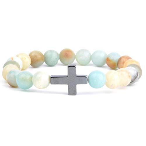 DMUEZW Religiöse Christliche Armbänder & Armreifen Für Frauen Naturstein Afrika Türkise Perlen Armband Kreuz Charme Armreif Männer Schmuck