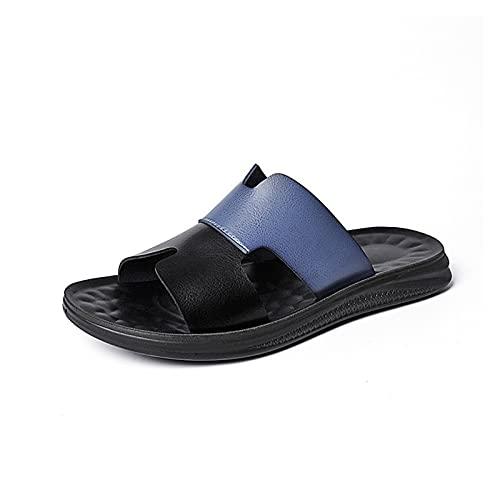 Dakecy Sandalias para Hombre Sandalias de Piel sintética Plantilla cómoda Sandalias de Soporte de Arco Verano Playa Sandalias de Mula (Color : Blue, Size : 43EU)