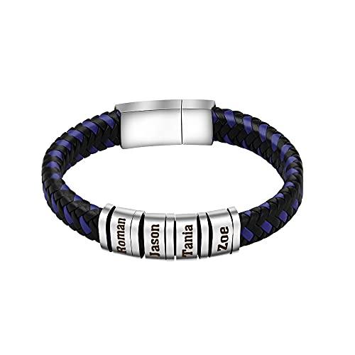 Pulsera personalizada para hombre, pulsera trenzada de cuero, con 4 cuentas de acero inoxidable de plata y cuerda magnética, nombre fecha / id, regalos de cumpleaños de Navidad para él