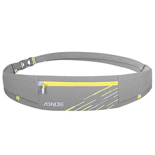 BAKLUCK Running Belt for Women Men, Lightweight Slim with Phone Holder Waist Pack for Workout Fitness Grey