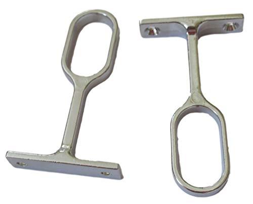 Jdel 2 x tubos de armario para tubo ovalado, Niquel, 30 x 15 mm