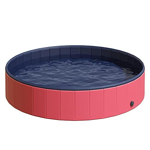PawHut Piscina Vasca da Bagno Portatile Pieghevole per Cani Animali Domestici in PVC Rosso Φ160 x 30cm
