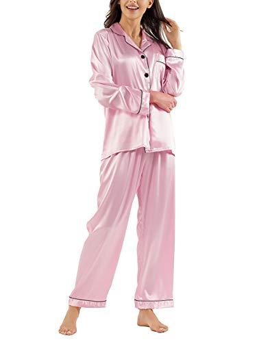 Gaeshow Damen-Schlafanzug-Set, Seidensatin, Pyjama-Set, langärmelige Nachtwäsche, Loungewear für alle Jahreszeiten Gr. 36, rose
