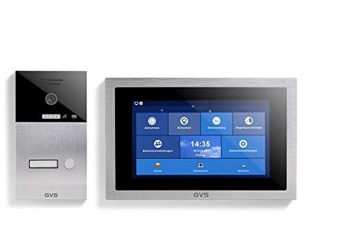 GVS Videoportero IP IP65, 1 monitor de 10 pulgadas, aplicación, cámara HD de 120°, apertura de puerta, memoria de 32 GB, interruptor PoE, 1 set para vivienda familiar, AVS1093A