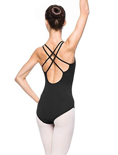Arabesque Bezaubernder Damen Ballettanzug Body mit Spaghettiträgern 2003 (XS, Schwarz)