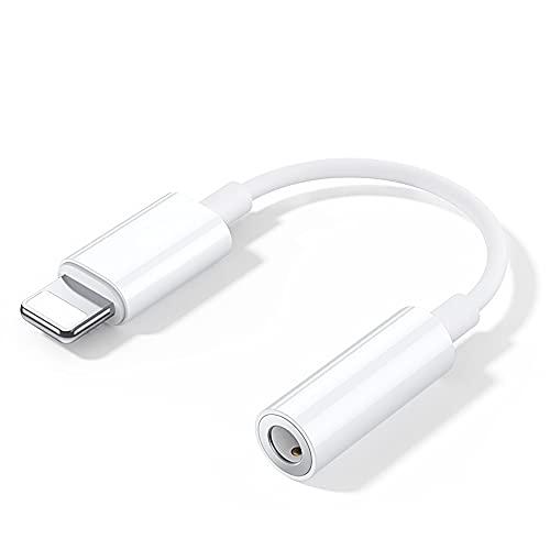 Adaptador de Auriculares para iPhone [Certificado Apple MFi] Auricular Dongle Splitter Converter Cable de Audio Compatible con iPhone 12/11/11Pro/Xs Max/XR/X/8/7 Compatible con Todos los Sistemas iOS