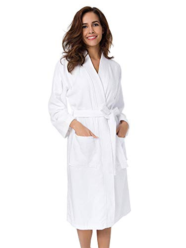 SIORO Terry Cloth Robes for Women Cotton Kimono Towel Bathrobe Soft Absorbent Long Sleeve Calf Length Robe Plush Winter Warm Shower Housecoat,Pure White Small