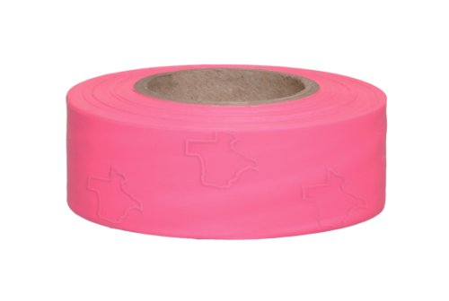 """Presco TX1PG-658 150' Length x 1"""" Width, PVC Film, Texas Pink Glo Solid Color Roll Flagging (Pack of 100)"""