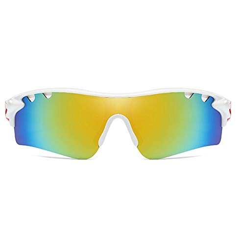 DKee Material De La PC Deportes Polarizados for Montar Al Aire Libre UV400 Gafas De Sol Blanco/Naranja Marco Amarillo Verde Lente Tendencia Hombres Y Mujeres con Las Mismas Gafas De Sol De Conducció
