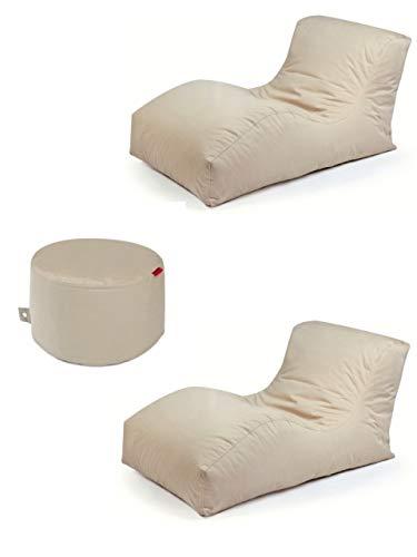 Outbag 3er Set Sitzsack 2 Wave + Rock l Lounge l Beige