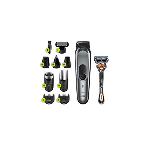 Braun All-in-one trimmer MGK7221, 10-in-1 trimmer, 8 attachments and Gillette Fusion5 ProGlide razor - Silver and Black