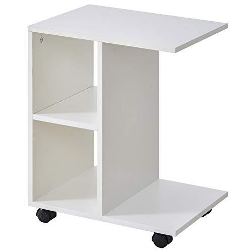 HOMCOM Beistelltisch in C-Form, Kaffeetisch, Couchtisch, Standtisch, Eckschreibtisch, E1-Spanplatte, Weiß, 45 x 35 x 58 cm
