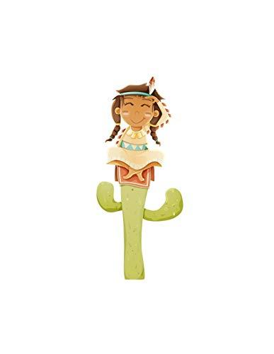 Sticker Indienne sur son Cactus - Format : 24 x 54 cm