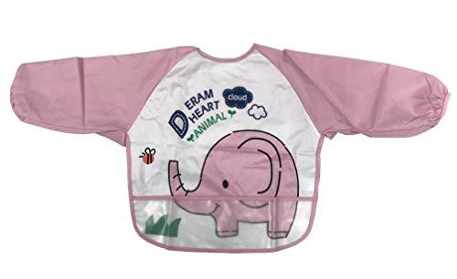 Baby kind voeden slabbetjes schort waterdichte doeken lange mouwen met voedsel vanger 34 - Olifant schort