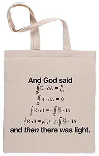 Bioclod And God Said Formula An Then There Was Light Réutilisable Coton Beige Sac de Courses Reusable Cotton Shopping Bag