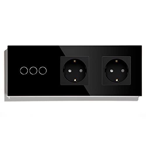 BSEED Normal enchufe doble con Interruptor de luz WiFi,Compatible con Alexa y Google Home,Control de APP y Función de Temporizador,3 Gang 2 Vías WiFi Interruptor de Pared con Enchufe Doble Negro
