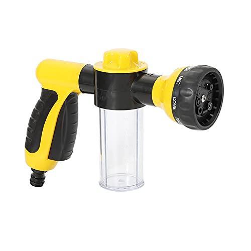 CUQOO Garden Hose Spray Gun – High Pressure Garden Hose Attachment with Reservoir for Soap/Fertiliser –8 Mode Jet Wash Sprinkler - Hose Pipe Sprayer with Dispenser for Pets, Car Washing, Gardening