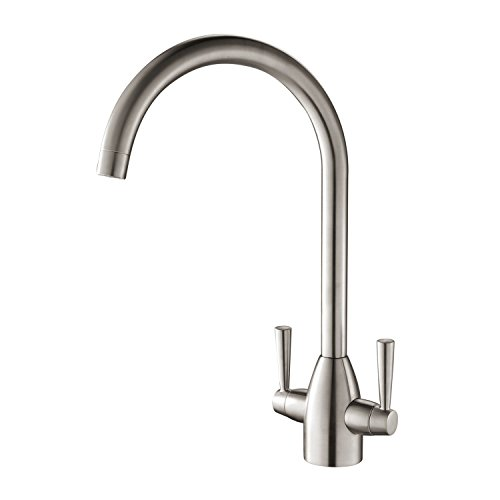 Hapilife Kitchen Tap Two Handle Swivel Spout Sink Mixer Tap, Brushed Nickel Hapi-T03N