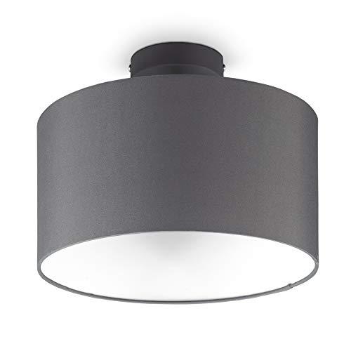B.K.Licht I Lámpara de techo de tela gris I 1 llama I E27 I Ø30 cm I Sin bombilla