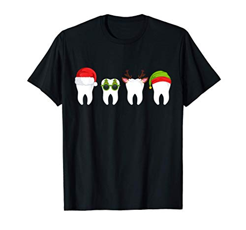 Dentist Christmas, funny tooth Dental gift with Xmas hats T-Shirt