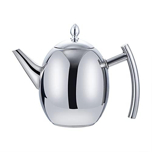 1L / 1.5L Tetera de tetera de acero inoxidable gruesa Hervidor de agua de la olla con filtro de gran capacidad de agua de agua Inicio Inicio Inicio Herramienta de té (Color : Silver 1.5L)