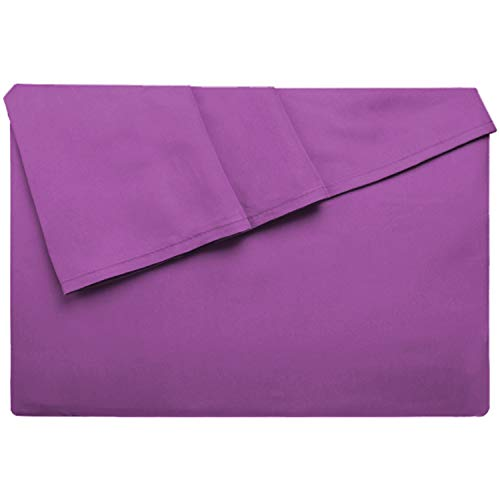 LiveComfort Flat Sheet, Twin Size Extra Soft Brushed Microfiber Flat Sheet, Machine Washable Wrinkle Free Breathable (Purple, Twin)