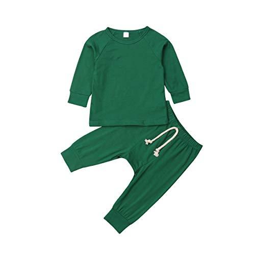 Geagodelia Chándal para bebé/bebé/niño unisex conjunto niño liso camiseta de manga larga + pantalones pijama de algodón camiseta Verde 12-18 meses